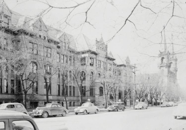 View of Boone Avenue with the Administration Building and Saint Aloysius Church (1949)