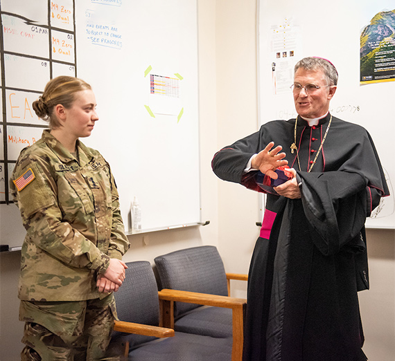 Archbishop Broglio visits with cadets in ROTC