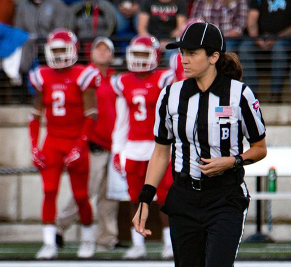 Amy Pistone referees a college football game