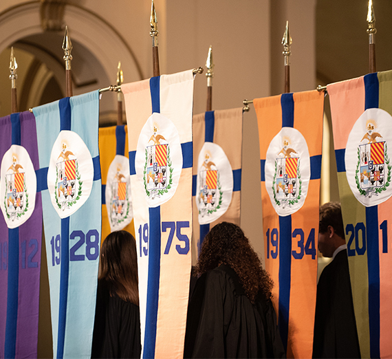 flags representing the Gonzaga college and schools