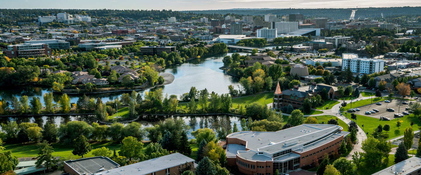 Drone view of campus and Spokane