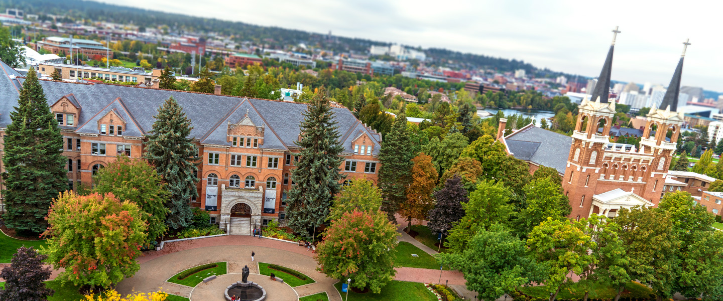Gonzaga University Aerial View of College Hall and St. Aloysius Church