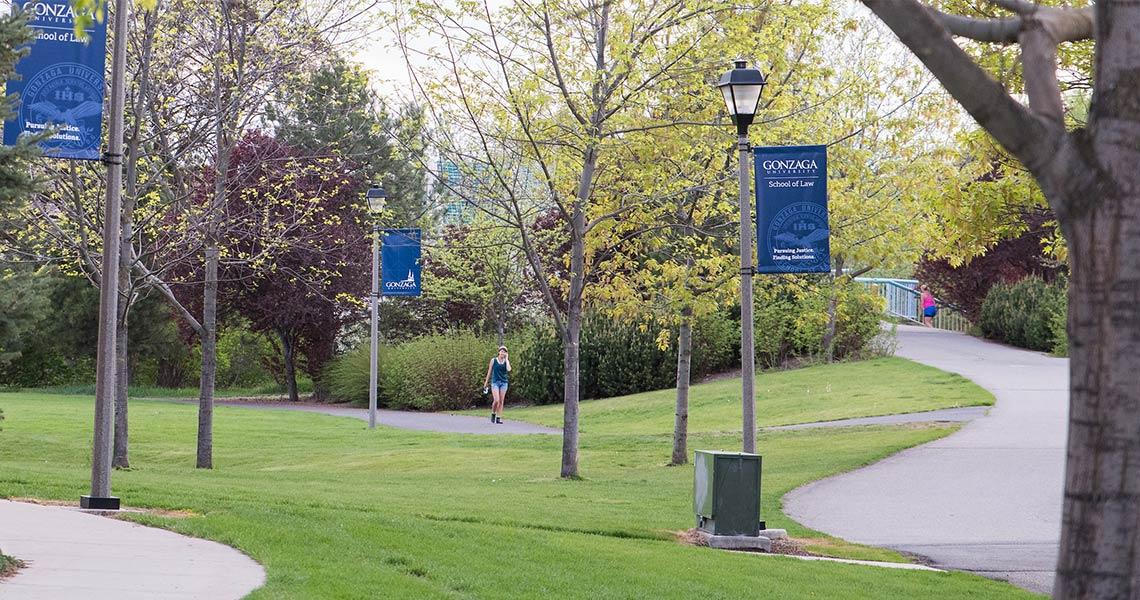 Gonzaga trail with blue banners